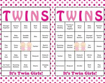 60 Baby Girl TWINS Baby Shower Bingo Cards   Prefilled Bingo Cards   Twin  Girls Game