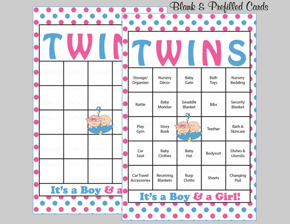 100 twins baby shower bingo cards 100 prefilled bingo cards boy il570xn pin it solutioingenieria Gallery