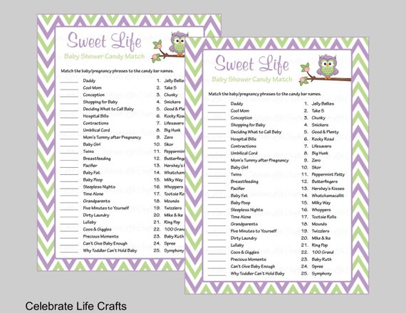 Sweet Life Baby Shower Game With Answer Key   Printable Candy Bar Match Baby  Shower Games   Green Purple Chevrons Owl Baby Theme B2005