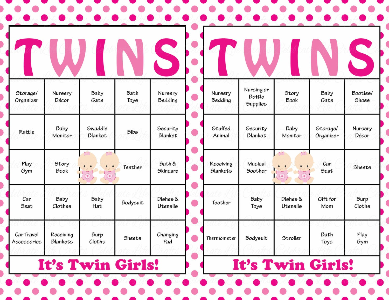 60 Baby Girl TWINS Baby Shower Bingo Cards Prefilled Bingo