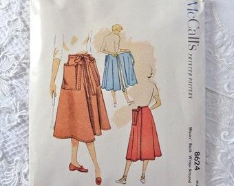 Vintage McCall's 8624  Wrap Around Skirt Pattern 1951 Waist 26