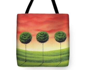 Green Tree Tote Bag, Mid Century Tote Bag, Handbag, Modern Tree Purse, Yoga Bag, School Bag, Boldly Colored Large Canvas Tote, Hobo Book Bag