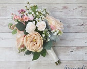 Boho Wedding Bouquet - Silk Wedding Bouquet, Wildflower Bouquet, Bridal Bouquet, Silk Bouquet, Neutral, Blush, Garden Rose, Wildflowers