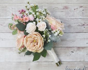Boho Wedding Bouquet, Silk Wedding Bouquet, Wildflower Bouquet, Bridal Bouquet, Silk Bouquet, Neutral, Blush, Garden Rose, Wildflowers