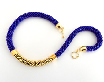 Blue Rope Necklace/Beaded Necklace/Golden Necklace/Statement necklace/Gift Idea/Virtù n.22 (blue version)