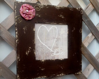 Brown Square Framed Heart Painting - Embellished Frame - Love Wall Decor - Rustic Cottage Chic