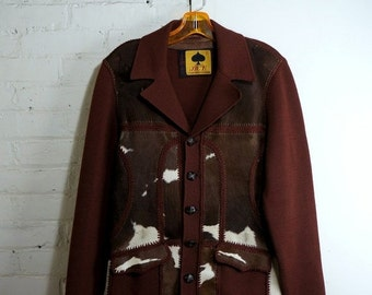 Western Jacket 1950s Vintage Leather Knit Blazer Hair on Hide Mens Size 38 Pony Fur Sweater Blazer Cowhide Leather Cardigan Panel Jumper ACE