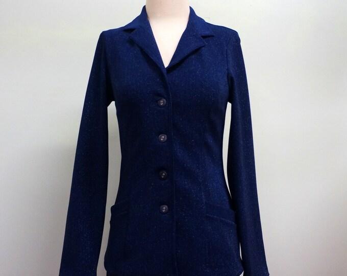 Betsey Johnson Blazer Vintage Blue Sparkle Jacket MEDIUM Tailored Dressy Jacket Designer Glitter Jacket New Years Eve Formal Dress Up Jeans