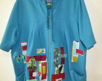 Upcycled Owl Artsy Jacket Hoodie Size 2X Turquoise Blue