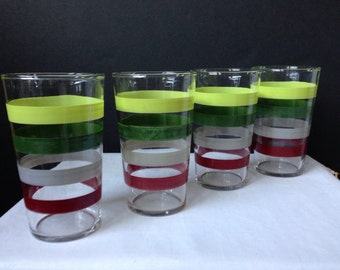 Federal Glass - Striped Tumblers - Chartreuse Green Gray Burgundy - Set of Four