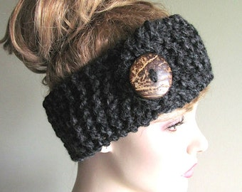 Wool Knit Headbands Button Heather Black Earwarmers Spring Fall Winter Accessories Headcovers Womens Girls Headwraps