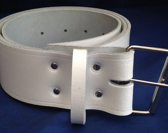 """White Leather Belt 2"""" Wide (50mm) with Choice of Buckle and Sizes Handmade Real Leather"""