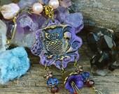 Purple Owl Necklace handmade OOAK polymer clay boho gypsy animal jewelry