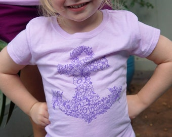 Little Girls hand drawn Floral Anchor lavender tshirt with purple design
