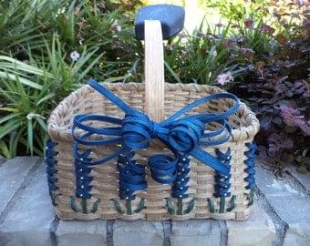 Texas Bluebonnet Large Market Basket Bluebonnet Basket Bluebonnet Gift Handwoven Basket Made in Texas