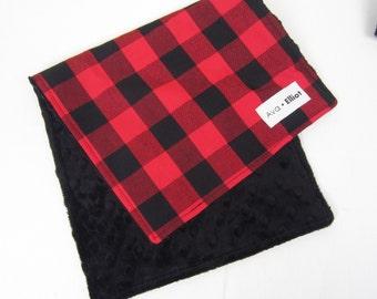 Buffalo Check - Baby Burb Cloth - choose minky color