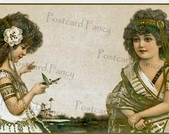 ART NOUVEAU Girl in Gold4, Antique Postcard, Instant DIGITAL Download