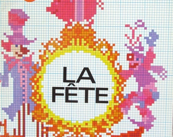 Vintage LA FETE DMC Library Series for Counted CrossStitch Projects -34 Pages of Color Cards, Patterns, and Finished Examples 1978