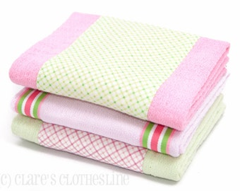 Baby Burp Cloths - Pink and Green Preppy Plaid Burp Cloths Set of 3 - READY TO SHIP