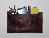 Deep Brown Floral Embossed Leather Pouch