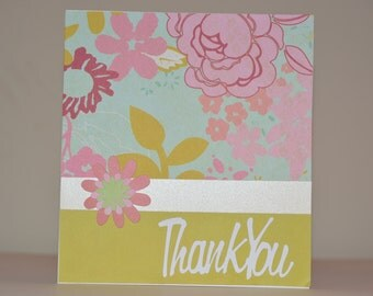 Retro Floral Thank  You Greeting Card