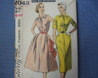 Vintage 1950s Simplicity sewing pattern 2043 Misses one piece dress with two skirts size 16 1/2