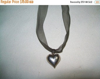 50% OFF vintage puffy heart pendant necklace on a ribbon