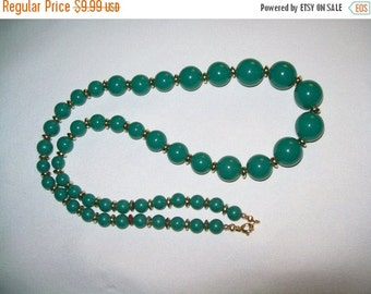 50% OFF Green beaded necklace, green and goldtone bead necklace , jewelry necklace, bead necklace