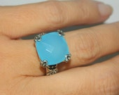 Ring With Big Stone, Sterling Silver Dinner Ring, Chalcedony Ring