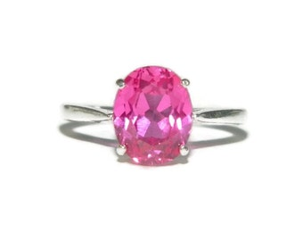 Pink Sapphire Ring, Sterling Silver Dinner Ring