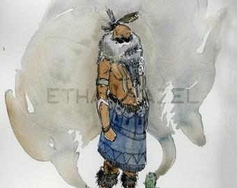 Navajo Skinwalker - Cryptid Series- OOAK original illustration