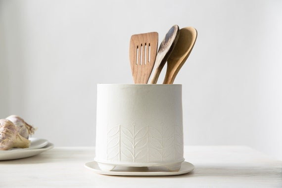 Ceramic utensil holder white storage pot modern utensil jar for Modern kitchen utensil