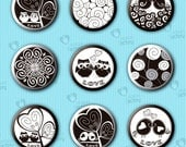 """Collage sheet 1 inch circle """"Black & White Images with Spirals"""" (1BWSC302) - 48 images for glass tiles, jewelry sconces, bottle cups, etc."""