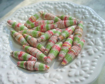 Paper Beads, Green, Red and Orange Paper Bead, Recycled Paper, Rolled Paper Bead, Supplies, Paper Bead Jewelry, Biscone