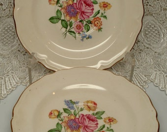 Vintage Wedding Saucers Dessert Plates Knowles Rose Floral Bouquet Set of 2 Shabby Cottage Chic Vintage Tea Party Bridal Shower