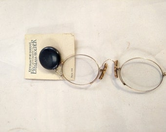 Pince Nez Eyeglasses, Mint Condition, with Automatic Eyeglass Holder, Like New Condition