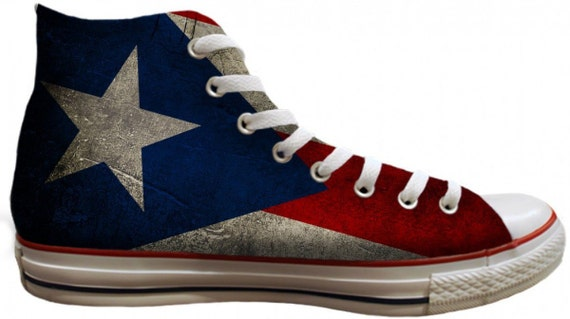 Converse Puerto Rico Flag pride distressed Custom Print High Mens Women w/ Swarovski Crystal Rhinestone Chuck Taylor All Star Sneaker Shoe