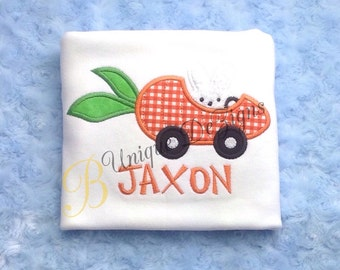 Easter Bunny Carrot Car Shirt, Boys or Girls Applique Shirt, Applique Easter Shirt, Boys Tops, Girls Tops