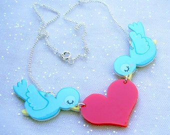 Blue Birds Statement Heart Necklace - Whimsical Acrylic Jewelry
