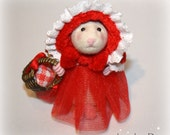 Little Red Riding Hood Mouse Dressed mouse  Needle felted mouse by JaynesLoveDoves