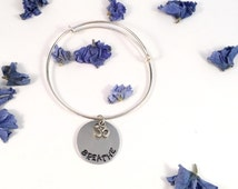 BREATHE hand stamped metal & silver Om charm bangle