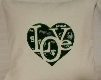 "Michigan State  ""Love"" Pillow Cover-MSU Pillow Cover- Michigan State University"