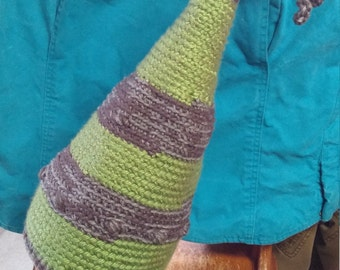 Whimsical wizard gnome cone crochet adult hat