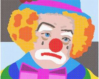 Bargain Needlepoint Clown Canvas