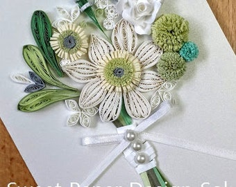Paper Quillied beautiful Flower Bouquet with Rings. Wedding card,Mothers day,Happy Birthday,Congratulations , Happy Anniversary Card