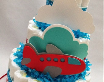 Airplane Diaper Cake   Diaper Cake for Boys   Baby Shower Centerpiece   Decoration   Decor   Precious Cargo Baby Shower