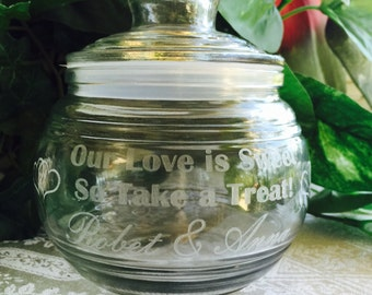 19oz Personalized Candy Dish For Wedding Table, Bridal Shower Gift, Glass Etched with Sealproof Lid, Hearts design
