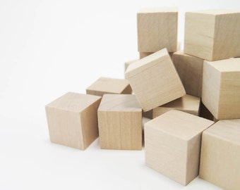 "Wood Blocks - 3/4"" Square Wooden Blocks | Unfinished Wood, Wooden Dice, Alphabet Blocks, Wooden Blanks, Wood Toys"