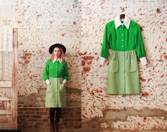 Vintage 1960s XS / Small Nardis of Dallas Custom tailored dress - bright green gingham patterned / pointed collar / checkered / mad men