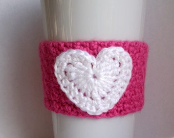 Crochet Hot Pink and White Heart Coffee Cup Cozy
